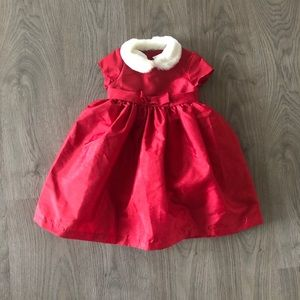Red holiday dress with faux fur collar- size 3T